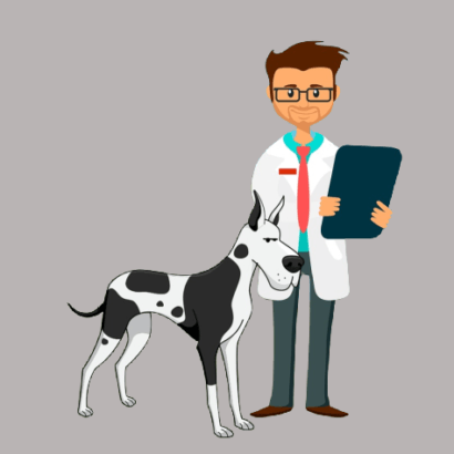 Cute cartoon of dog next to vet holding clipboard