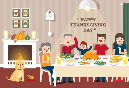 Family Thanksgiving Cartoon