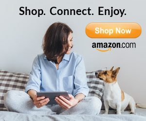 Women at computer with dog and Shop Now Amazon button